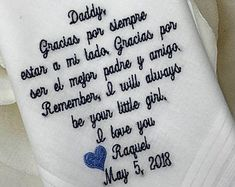 Embroidered Wedding Handkerchiefs, Fast Turnaround by elegantmonogramming Wedding Verses, Wedding Handkerchief, Matching Gifts, Wedding Ties, Father Of The Bride, Bride Gifts, Personalized Wedding, Gifts For Dad, Handkerchiefs