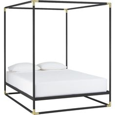 CB2 Frame Canopy Queen Bed ($699) ❤ liked on Polyvore featuring home, furniture, beds, bed, cb2, queen bed, canopy bedframe, queen footboard and canopy bed frame