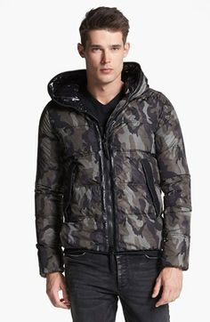 Duvetica Camo Print Hooded Down Jacket available at #Nordstrom