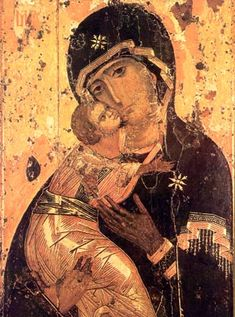 Vladimirskaya, Theotokos of Vladimir, ca. 1130, Tretyakov Gallery, Moscow.