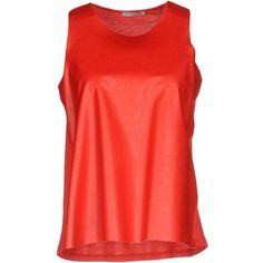 Hope Collection Top (£59) ❤ liked on Polyvore featuring tops, red, red top, jersey top, no sleeve tops, red jersey and sleeveless tops