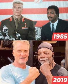 """bringin' back """"Rocky IV"""", . Dolph """"Ivan Drago"""" Lundgren & Carl """"Apollo Creed"""" Weathers then and now! at the House of y'all! Time to step it up - c'mon, c'mon STEP IT UP! Sylvester Stallone, Old Celebrities, Celebrities Then And Now, Celebs, The Expendables, Expendables Tattoo, Hollywood Actor, Hollywood Stars, Nutrition Crossfit"""