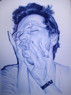 Artist Juan Francisco Casas...he creates photo-realistic, large-scale drawings using a blue Bic ballpoint pen.