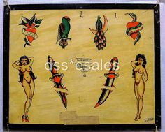 423794610_o by Vintage Tattoo Flash, via Flickr/// I like the small daggers.