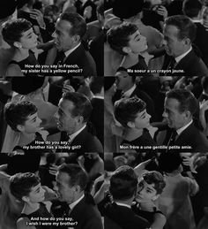 Sabrina. Besides Breakfast at Tiffanys and My Fair Lady, my favorite Hepburn movie. Adorable. Linus and Sabrina.
