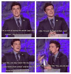 One of the reasons I think Josh Hutcherson is amazing. He supports equal rights which I admire about him! Jenifer Lawrence, Lgbt Memes, Lgbt Quotes, Faith In Humanity Restored, All That Matters, Cute Gay, Reality Check, Hunger Games, Equality
