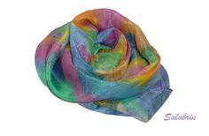 Seidenschal Julia - bunter Schal in den Farben des Regenbogens. Schöne Musterung in 100% Seide - ein Designerstück von Salabrin bei DaWanda