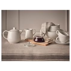 IKEA - VARDAGEN, Teapot, off-white, Simple yet timeless tableware with a traditional style and soft round shapes with attention to details. Ikea Vardagen, European Breakfast, Glass Jars With Lids, Color Glaze, Decorated Jars, French Country Style, Food Waste, Transparent, Clear Glass