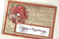 Handmade Card Anniversary Card Vintage Card by Summertimedesign, $3.50