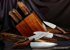 19 pc custom hand-forged chef and steak knife set in matching traditional style knife block. Handcrafted by Gregg Salter. Available in different configurations. www.SalterFineCutlery.com