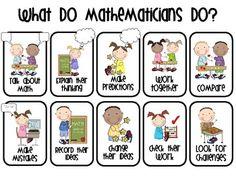 GREAT resource aligning with Common Core 8 Math Practices. This document refers… Math Teacher, Math Classroom, Kindergarten Math, Teaching Math, Classroom Ideas, Classroom Posters, Classroom Displays, Preschool, Fun Math