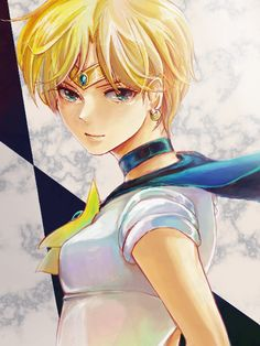 Sailor Uranus, looking both confident and somewhat vulnerable.