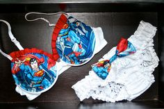 SUPER RUFFLED SUPERMAN Set: White Bra with Superman Comics Fabric and Matching Bow Panties on Etsy, $95.00