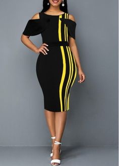 Short Sleeve Stripe Print Sheath Dress Women Clothes For Cheap, Collections, Styles Perfectly Fit You, Never Miss It! African Print Dresses, African Fashion Dresses, African Dress, Fashion Outfits, Cheap Fashion, Black Dresses Online, Dress Online, Cheap Black Dress, Elegant Dresses