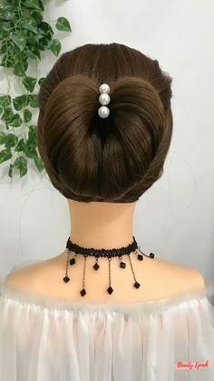Hairdo For Long Hair, Bun Hairstyles For Long Hair, Braided Hairstyles, Front Hair Styles, Medium Hair Styles, Hair Style Vedio, Hair Upstyles, Dance Hairstyles, Crystal Flower