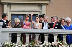 Crown Princess Mathilde of Belgium, Crown Prince Felipe and Crown Princess Letizia of Spain, Queen Anne Marie and King Constantin of Greece appear on the Lejonbacken Terrace after their wedding ceremony on June 19, 2010 in Stockholm, Sweden.