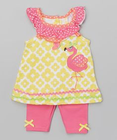 This Pink & Yellow Flamingo Tank & Shorts - Infant by Nannette Girl is perfect! #zulilyfinds
