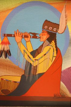 "This painting is called ""Man Playing Flute"", painted by Woogie Watchetaker. (Acrylic on canvas, Museum purchase.) #Comanche #Art"