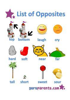 list of opposites worksheet 3