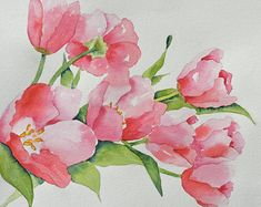 Tulips-Fine Art Print of My Original Watercolor by yankeegirlart