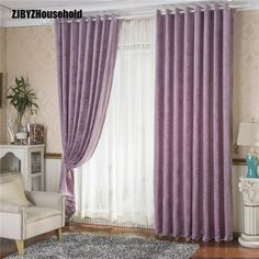 Sportnowstudio Purple Green Printing Half A Window Shade Printing Chenille Curtains for Living Dining Room Bedroom - Location: Window Living Room Elevation, Buy Windows, French Windows, Green Print, Blackout Curtains, Stores, Home Textile, Home Goods, Curtains