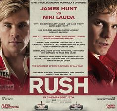 Chris Hemsworth drops his mighty Thor hammer in September and jumps into Ron Howard's Rush movie playing Formula 1 driver James Hunt and his clashes with Austrian driver Niki Lauda (Daniel Brühl). The new image is an infostill that shows what separated the two famous men on the racetrack.