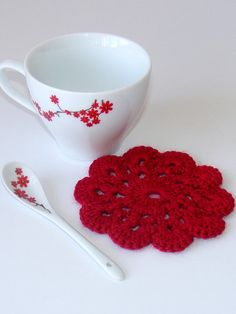 Red Handmade Doily Crochet Coaster Set of 4 approx by SNOflowers, $10.00