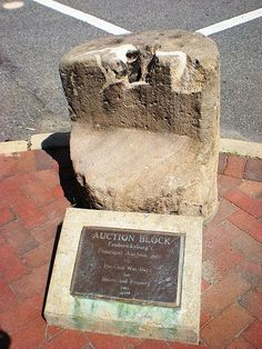 Slave Auction Block in downtown Fredericksburg, Virginia.