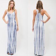 | new | tie dye maxi Sleeveless tie-dye maxi dress fully lined.  95% Rayon 5% Spandex                                        Arrives 3/24 Dresses Maxi
