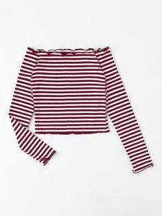 Off Shoulder Lettuce Edge Trim Striped Tee Off The Shoulder Top Outfit, Off Shoulder Shirt, Teen Swag Outfits, Cool Outfits, Fashion Outfits, Shirts & Tops, Nova Clothing, Look Retro, Estilo Retro