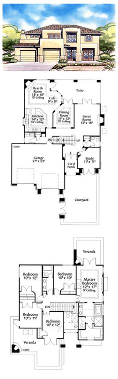 #SantaFe #HousePlan 71661 has 2540 square feet of living space, 5 bedrooms and 2.5 bathrooms. Lower level: study, powder room, laundry, great room, dining, kitchen and hearth room. Upper level: master suite & 4 smaller bedrooms with shared bathroom. Upper level verandas feature corner fireplaces.