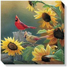 This cardinal birds wrapped canvas art features original art by Susan Bourdet and offers the look and feel of an original wildlife painting at a reasonable price. This breathtaking canvas arrives read Pretty Birds, Love Birds, Beautiful Birds, Small Birds, Beautiful Artwork, Sunflower Art, Sunflower Garden, Cardinal Birds, Bird Art