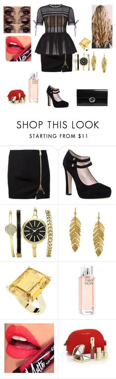 """""""Party"""" by girlofharryes ❤ liked on Polyvore featuring Bouchra Jarrar, Kate Spade, Kenneth Jay Lane, StyleRocks, Calvin Klein, Fiebiger, Dolce&Gabbana and Gucci"""