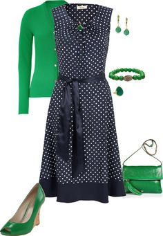 """""""Anya"""" by kvnielsen on Polyvore I was *just* talking to someone about how much I was into kelly green and navy blue. (Though I think I'd change out the purse or the shoes for a third pop of color and to avoid being too matchy match.)"""