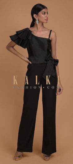 Buy Online from the link below. We ship worldwide (Free Shipping over US$100)  Click Anywhere to Tag Ink Black Jumpsuit With Fancy Pleated Frill On The Shoulder Online - Kalki Fashion Ink black jumpsuit in lycra with silk bodice.Crafted with one shoulder neckline with fancy pleated frill on the shoulder. Bodice, Neckline, Black Jumpsuit, Salwar Kameez, No Frills, Desi, Fancy, Free Shipping, Shoulder