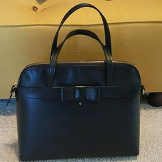 Authentic Kate Spade Handbag FIRM PRICE Black leather in used condition some rub spots on the back area missing long strap 14 x 11 kate spade Bags Satchels