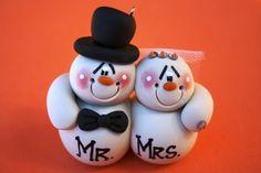Pupazzo personalizzato matrimonio coppia ornamento di Natale di argilla