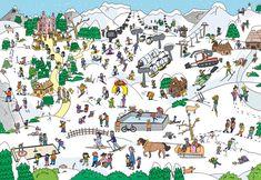 Salzburger Saalachtal | Wimmelbuch | Franziska Höllbacher #wimmelbuch The Fool, Illustration, Cartoons, Bullet Journal, Studio, Google Search, America, Cartoon, Cartoon Movies