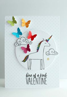 unicorn Valentine made with A Muse Studio You Are Magical Stamp Set and Butterfly Trio Die S unicorn Valentine made with A Muse Studio You Are Magical Stamp Set and Butterfly Trio Die S steffi rist nbsp hellip Unicorn Valentine, Valentine Day Boxes, Valentine Crafts, Studio Cards, Origami, Valentine's Cards For Kids, Candy Cards, Homemade Cards, Magical Unicorn