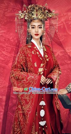 Traditional Chinese Imperial Princess Wedding Costume and Handmade Headpiece Complete Set, Chinese Style Ancient Hanfu Bride Wedding Embroidered Red Dress for Women Chinese Clothing Traditional, Chinese Wedding Dress Traditional, Chinese Style, Traditional Dresses, Chinese Wedding Dresses, Red Chinese Dress, Chinese Gown, Chinese Bride, Korean Bride