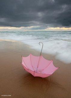 Pink Umbrella on the beach...