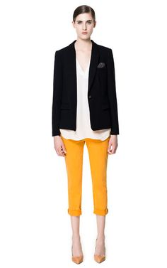 BLAZER WITH COMBINATION ELBOW PATCHES - Blazers - Woman - ZARA Croatia (Hrvatska)