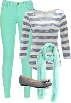"""""""Mint skinny jeans"""" by tessicat ❤ liked on Polyvore"""