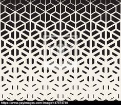 Vector Seamless Black and White Hexagon Triangle Split Lines Halftone Gradient Pattern