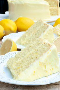 Homemade Cake Recipes, Lemon Dessert Recipes, Sweet Recipes, Baking Recipes, Lemon Recipes, Desert Recipes, Drink Recipes, Lemon Cake Frosting, Lemon Cream Cheese Frosting