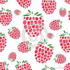Raspberry seamless pattern for your design. Vector illustration