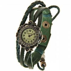 $5.52 Visec Women's Watch 12 Arabic Numbers Hour Marks Round Leather Band (Green)
