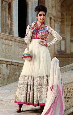 Buy Mruga White Designer Dress Material online f47f4034b