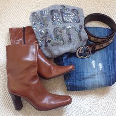 """Great leather boots Cognac soft leather Coach boots are in great shape! Comfortable 3"""" heels with the inner zipper and slightly pointy toe box. Size US7. Best for someone who wears size US6.5  Normal bottom wear. Made in Italy. Coach Shoes Ankle Boots & Booties"""