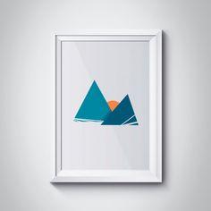 Sunset, Mountains Art Print, Minimalist Art, Geometric print, Mountains Wall Art, Triangle Art Print, Blue Print, Orange Sun